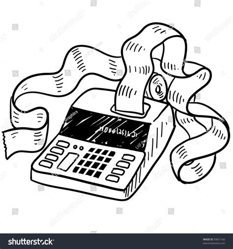 Doodle Style Adding Machine Tax Accounting Stock Vector