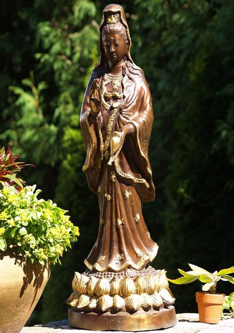"""SOLD Kwan Yin Statue with Vase of Nectar 36"""" (#29t2a"""