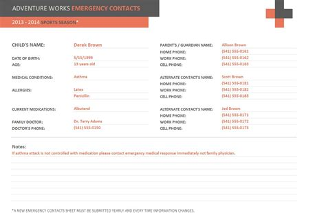 Emergency Contact Form Template | Emergency Contact Template