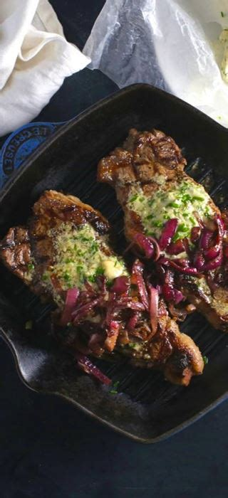 Grilled Steak with Blue Cheese and Chive Compound Butter