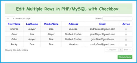 Update Multiple Rows in PHP/MySQL with Checkbox   Free
