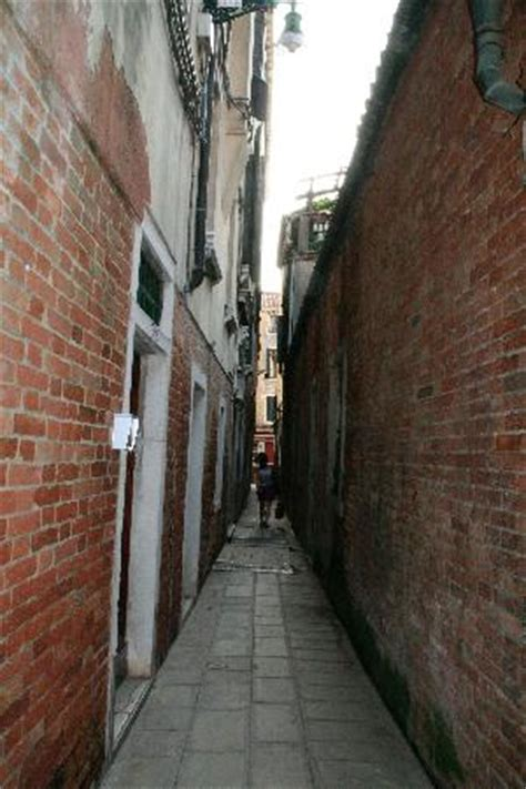 The narrow alley where the hotel's front door is located