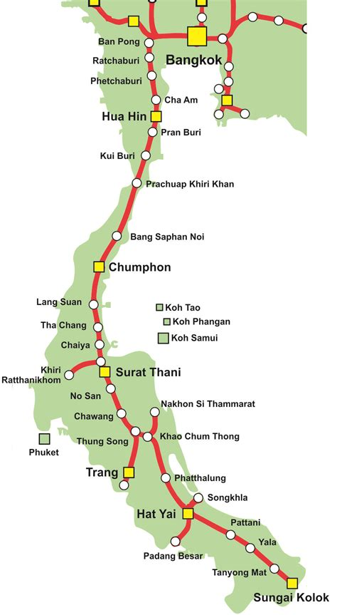 Map of Thailand's Southern Train Line | Thailand Trains