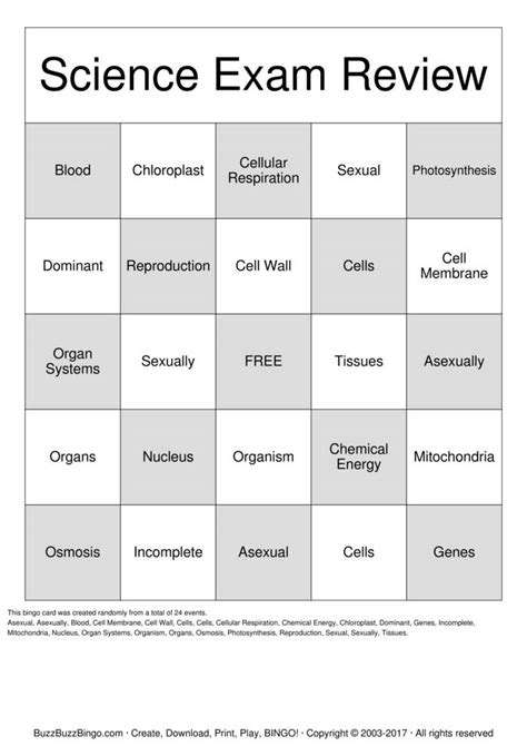 Science Exam Review Bingo Cards to Download, Print and
